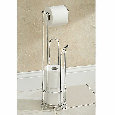 Chrome Free Standing Bathroom Toilet Paper Roll Holder Dispenser 3 Roll Storage