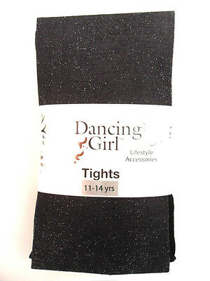 New Childs Childrens Girls Glitter Sparkly Party Black Tights Age 11 12 13 14