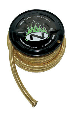 Namz Braided Oil Line 3/8 Inch ID 25 Foot Brass For Harley-Davidson