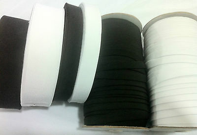 "24meters BEST QUALITY ELASTIC BLACK/WHITE ROLLS 1/2"", 1"", 2"""