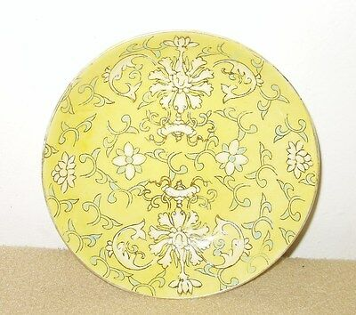 """Vintage Yellow Hand Painted Dish with Chinese? Characters on Bottom - 5 1/8"""""""