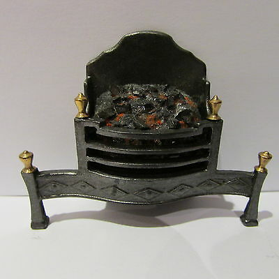 Fire grate ~ METAL & BRASS ~ LIGHTS UP ~ Doll House Miniature ~ 1/12th scale