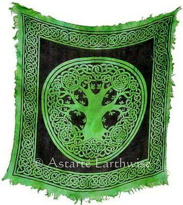 TREE OF LIFE ALTAR CLOTH 457 x 457 mm Wicca Pagan Witch RAYON TAROT CLOTH