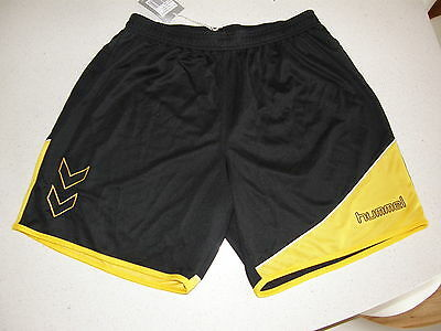 Football Soccer Sports Shorts Hummel Polyester Grassroot Large Black/Yellow NEW!