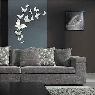 20Pcs Silver Butterfly Mirror Wall Stickers Home Office Decors Decorations
