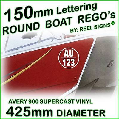 150mm ROUND BOAT REGO DECAL STICKER KIT - Custom Cast Vinyl Registration Numbers