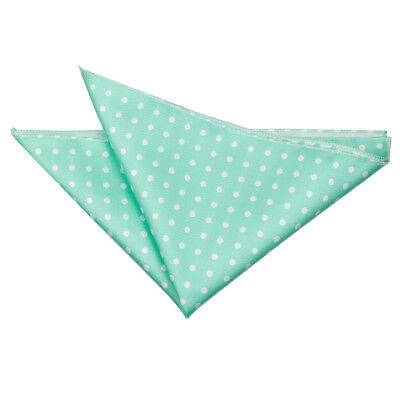 New Dqt Polka Dot Mens Handkerchief / Pocket Square  - Mint Green