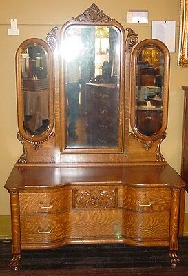 Wonderful quartered oak quarter sawn vanity dresser-3 mirrors---14803