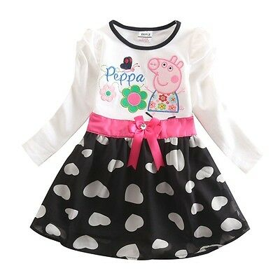 Peppa pig clothes long sleeves dresses with bowknot (12 Months - 5 Years)
