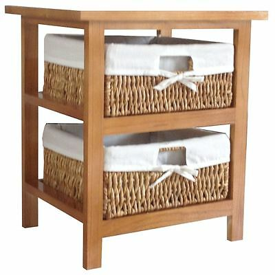 Maize Baskets Unit Brown 2 Drawer Storage Cabinet Organiser By Home Discount