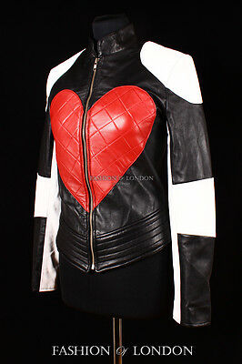 Ladies KYLIE Peace Heart Real Leather Jacket Black Red & White Soft Lamb Leather
