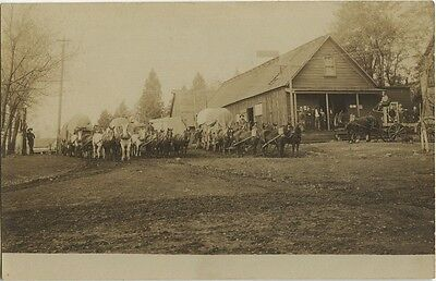 Postcard of Loaded Wagon Trains at Foresthill, California