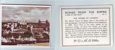 Cigarette CARD by WILLS Scenes from the Empire #14 THE TOWER OF LONDON