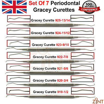 Set of 7 Gracey Curettes Periodontal Root Canal Surgical Scaling Root Planing CE