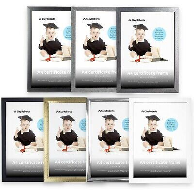 A4 Photo Picture Frame, Certificate Frame - Black, Silver, Pine, Gold & White