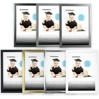 A4 Photo Picture Frame Certificate Wall & Desk Mountable Silver & Black Frames