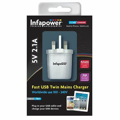 Infapower P023 White 5V 2.1A Worldwide Voltage Fast USB Twin Mains Charger New