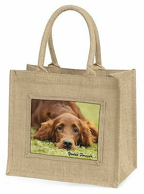 Red Setter Dog 'Yours Forever' Large Natural Jute Shopping Bag Birth, AD-RS2yBLN