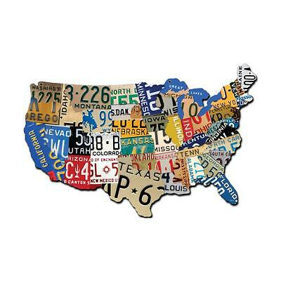 Vintage License Plate USA Map of the United States Steel Metal Garage Sign 19x13