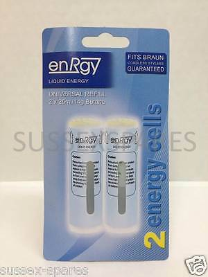 2 x New energy cells for ALL Braun CT2 Gas Cordless Stylers, 2 x 25ml/14g Butane