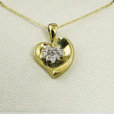 "Heart Pendant - 10K Yellow Gold With 0.03 Ctw Diamonds - Includes 18"" Chain!"