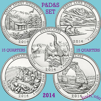 2014 Pds National Park 15 Quarters Yearly Complete Set Uncirculated U.s.mint