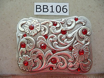 BB106 New Enmon Red Rhinestone Engraved with Flowers Western Cowgirl Belt Buckle