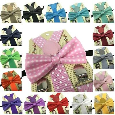 Kid's Suspender Bow Tie Combo Matching Colors Sets for Boys Girls Kids Child