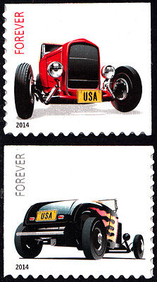 US USA 2014 Hot Rods Set of 2 Stamps Self Adhesive, Ex. Booklet MNH