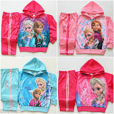 Girls Disney Frozen Anna Elsa Pink Tracksuits Hoodie Top Bottom Set 2-6 Years