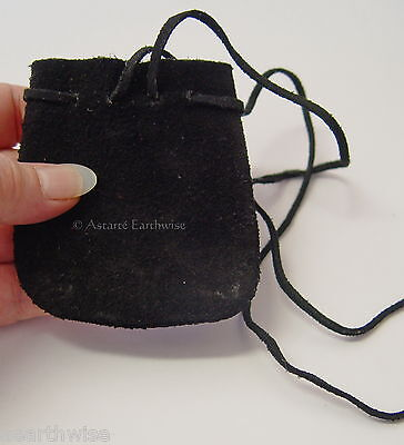 BLACK SUEDE POUCH  Wicca Pagan Witch Goth HERBS SPELLS RITUAL