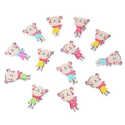 50PCs Mixed Wooden Buttons Cute Bear 2 Hole Fit Sewing DIY Scrapbook 3x2cm