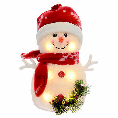 "8"" Warm White Light Up Xmas Decoration Snowman Red Snowflake Design (20cm)"