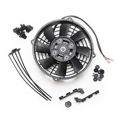 """8"""" 12v Pull Type Radiator Cooling Fan With Straight Blades + Mounting Kit"""