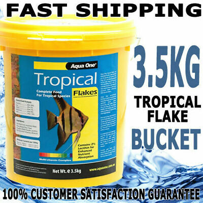 Aqua One Tropical & Cichlid Aquarium Pond Fish Quality Flake Food Bulk 3.5Kg