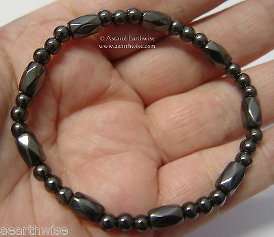 1 x MAGNETIC HEMATITE BRACELET MIXED BEADS Wicca Witch Reiki Pagan Goth Hippie