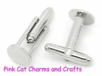 4 x Tibetan Silver CUFF LINK BLANKS CUFFLINKS 10mm GLUE PAD Jewellery Findings