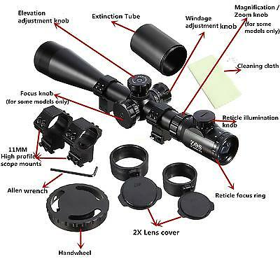 ZOS 6-24X50 SFE Extreme Tactical IR SWAT Rifle Scope For Hunting With 11mm Mount