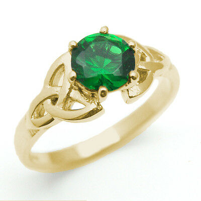 Trinity Knot Ring Diamond-Unique 1ct Emerald Solid 9ct Gold UK Hallmarked