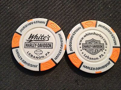 "Harley Davidson Poker Chip (Gary & Orange) ""White's"" Lebanon, Pennsylvania"