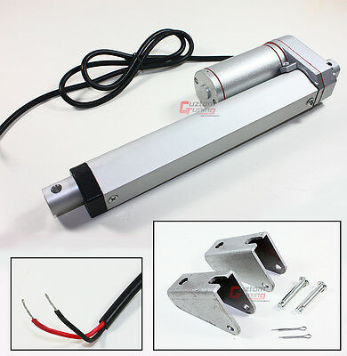 "Heavy Duty 6"" Inch Linear Actuator Stroke 225 Lb Pound Max Lift 12V DC+ Brackets"