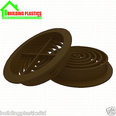 10 x 70mm BROWN SOFFIT ROOF AIR VENT- UPVC / Soffit Board / Eaves / Disc/Circle