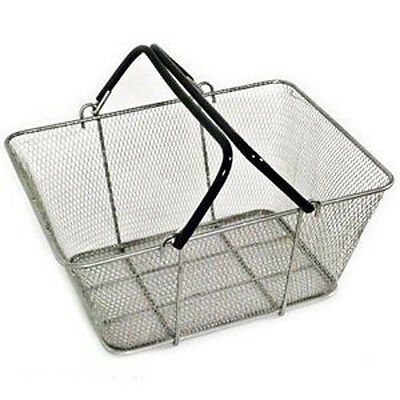 Shopping Basket Wire Mesh Market Gift Store Retail Small  Silver Lot of 12 NEW