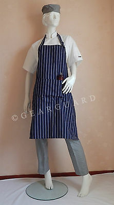Adjustable Full Bib Navy Blue&White Pinstripe Chef/Butcher Apron with pocket