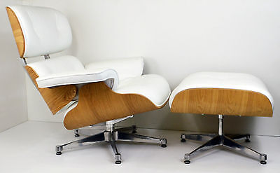 New Lounge Chair and Ottoman Ashwood White Leather Inspired by Charles Eames