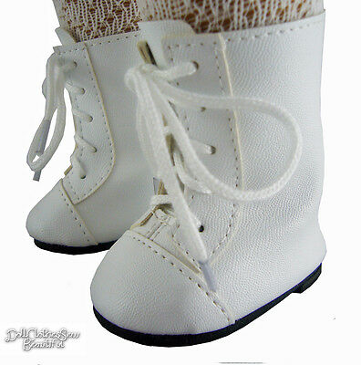 "Victorian Era White 1800 Boots Shoes for 18"" American Girl Dolls Moniques Brand"