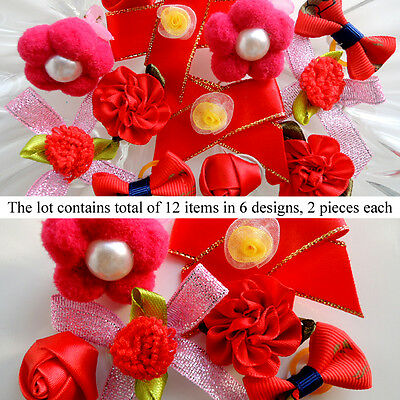 *12 PCS* Red Passion Dog Hair Bow Pet Grooming Accessory in 6  Designs Set #7