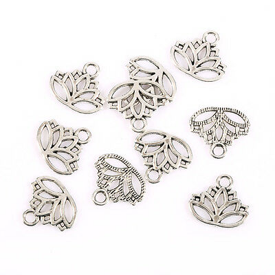 lotus flower head petal Tibetan Silver Bead charms Pendants fit bracelet 10pcs