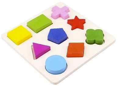 Wooden 9 Shapes Colorful Puzzle Toy Baby Educational Brick Toy