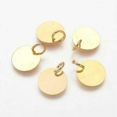 Metal Stamping Blanks Brass 10mm Unplated Initial Charms Blank Charms 20 pieces